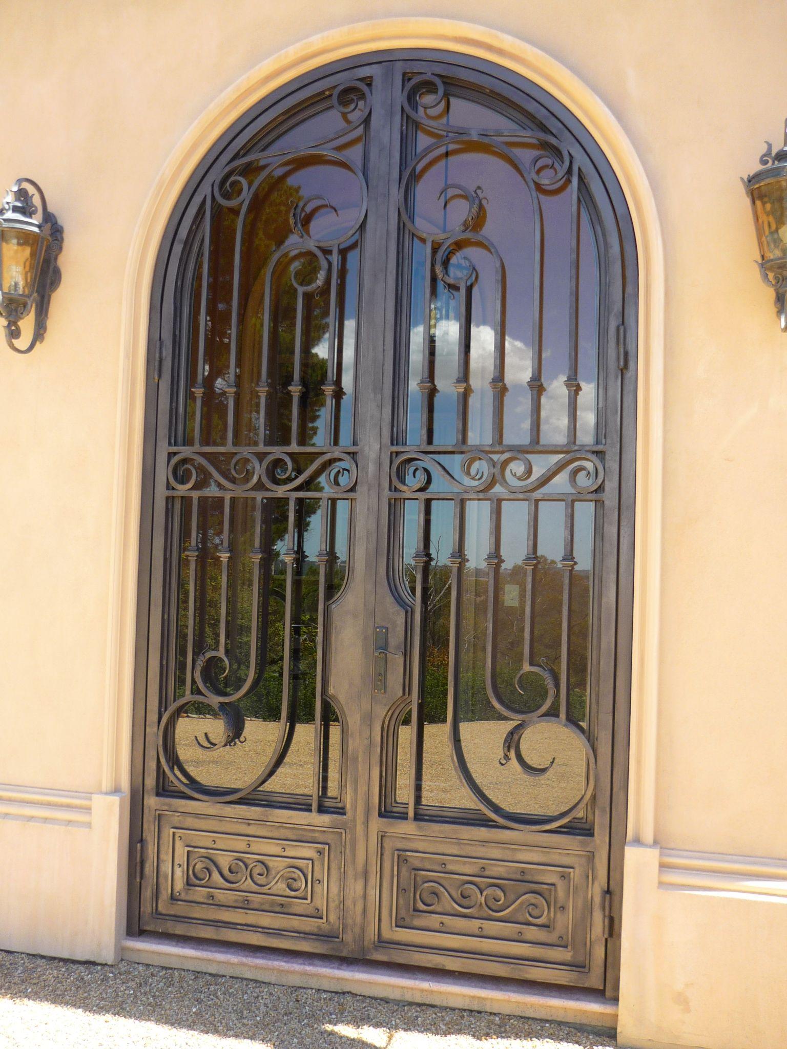 Custom Made Wrought Iron Door With Opening Glass Panels Iron