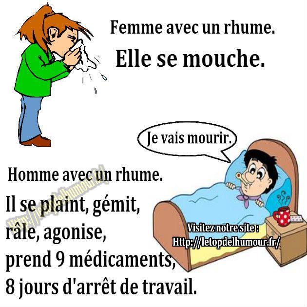 homme-femme-malade-lit-rhume-humour-blague | humour ...