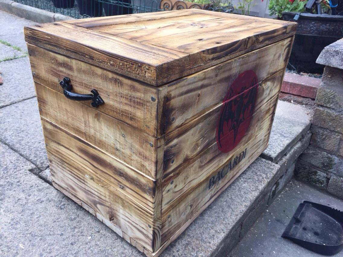Handmade Bacardi theme box made from reclaimed pallet wood