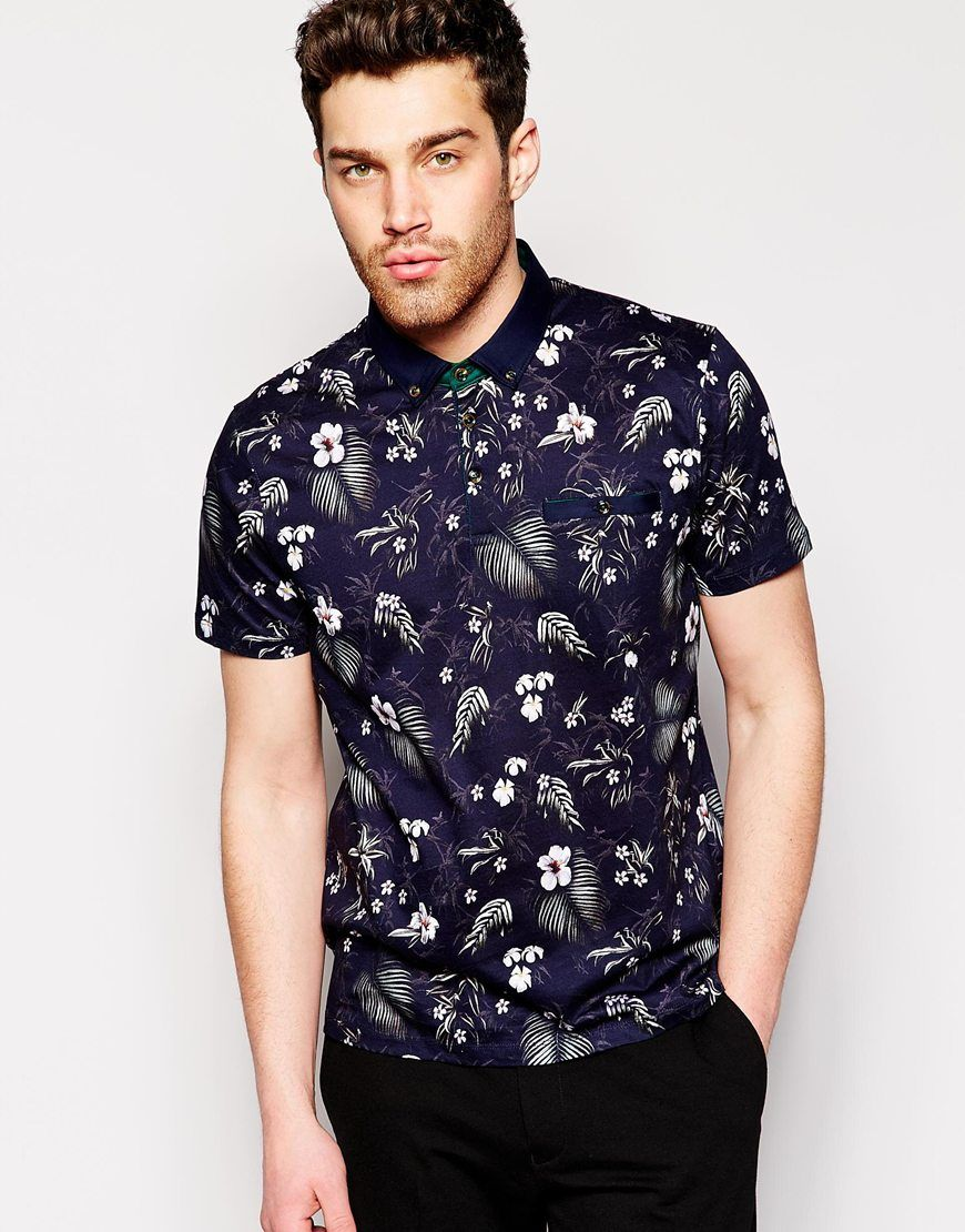 56bcbf1c1 Ted Baker Polo Shirt With All Over Floral Print