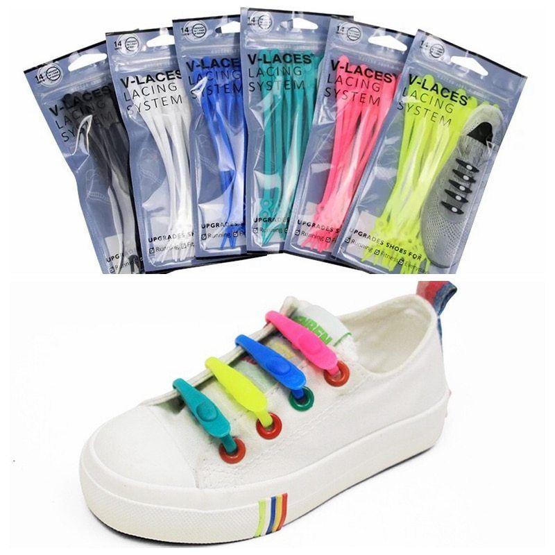 14 Pcs Easy No Tie Shoelaces Elastic Silicone Flat Lazy Shoe Lace Set Kids Adult