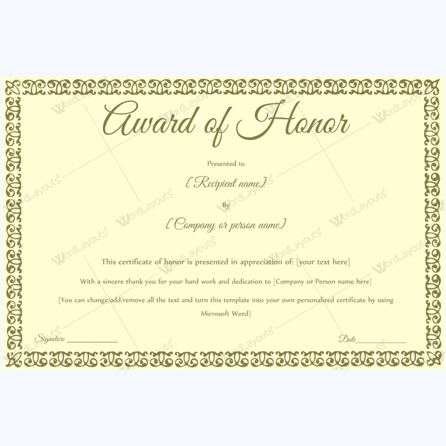 Award of honor 14 certificate award of honor 14 word layouts gift certificate templateaward yelopaper Choice Image