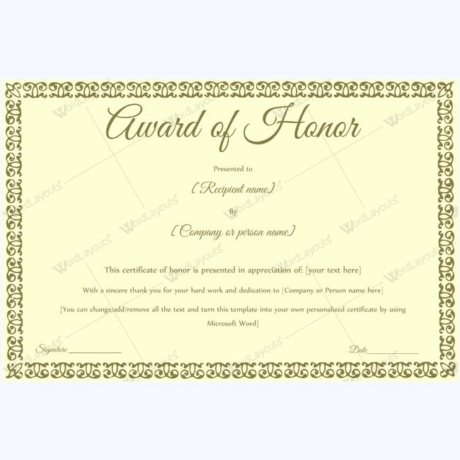 Award of Honor 14 | Certificate