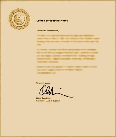 Letter of Good Standing require to do marriages, etc Ordination - best of ordination certificate free