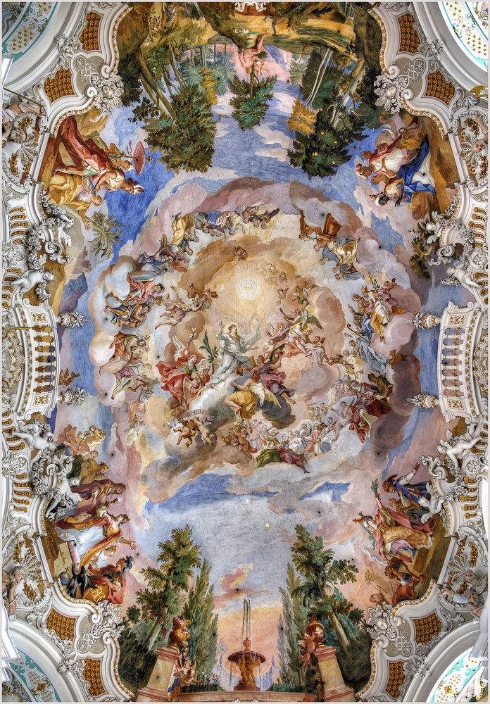 Photo of Steinhausen ceiling of the pilgrimage church.