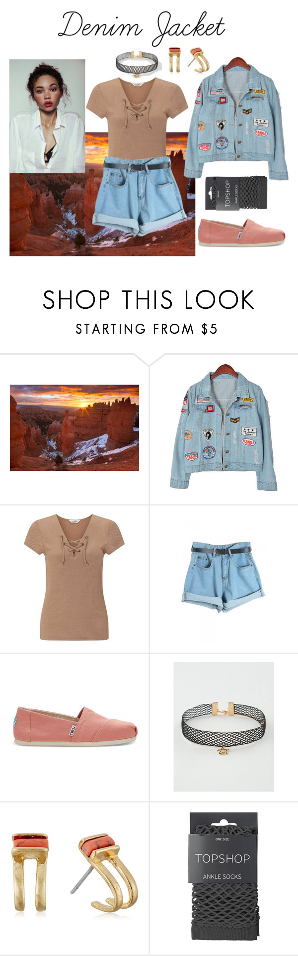 """Denim Jacket"" by sapphire-stone ❤ liked on Polyvore featuring Chicnova Fashion, Miss Selfridge, WithChic, TOMS, Full Tilt, Kenneth Cole and Topshop"