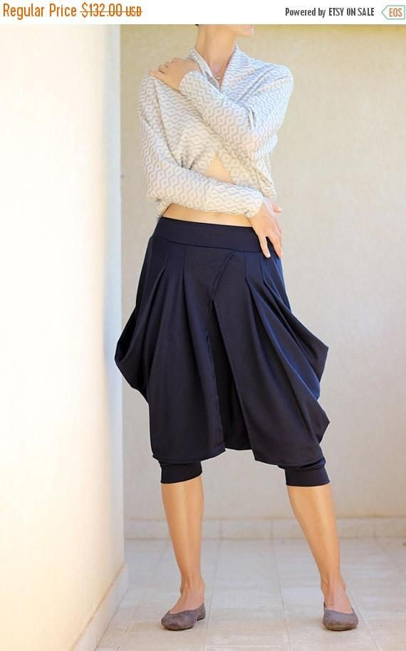 bb8e2e0a36a81 Dark Blue Winter Harem pants with skirt. Casual Womens drop crotch trousers.  Designer harem pants for women. Winter capris, Sizes S/M/L/XL You will be  able ...