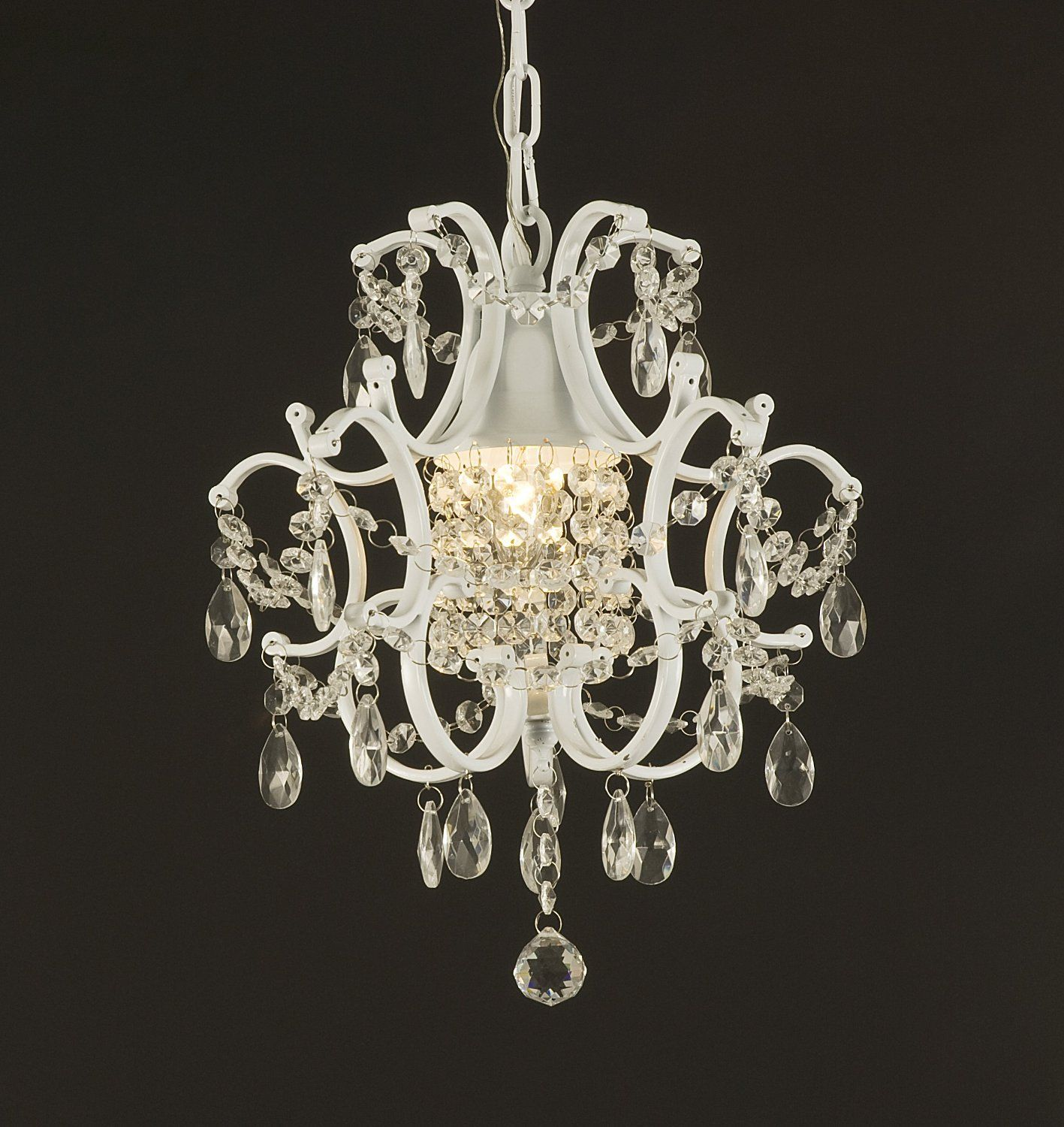 Wrought Iron Crystal Chandelier Lighting Country French White One Light