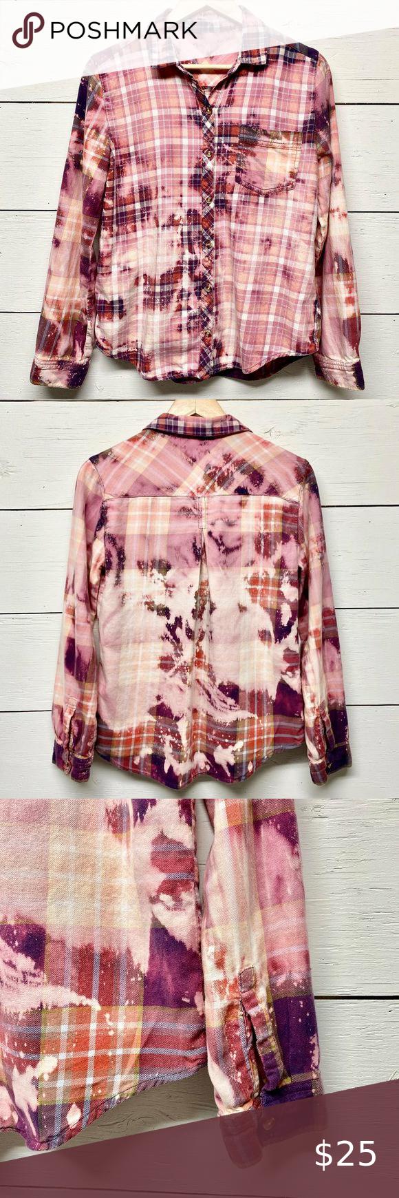 Tie dyed Flannel woman/'s Medium