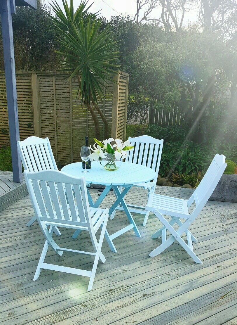 Up cycled garden furniture. Coastal blues turned this dated outdoor ...