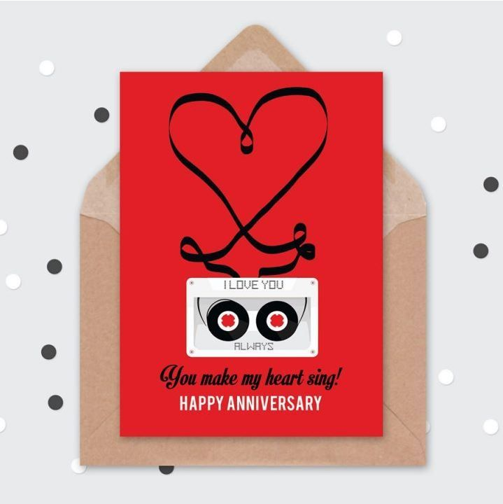 retro tape cassette anniversary card love hearts retro card 80s