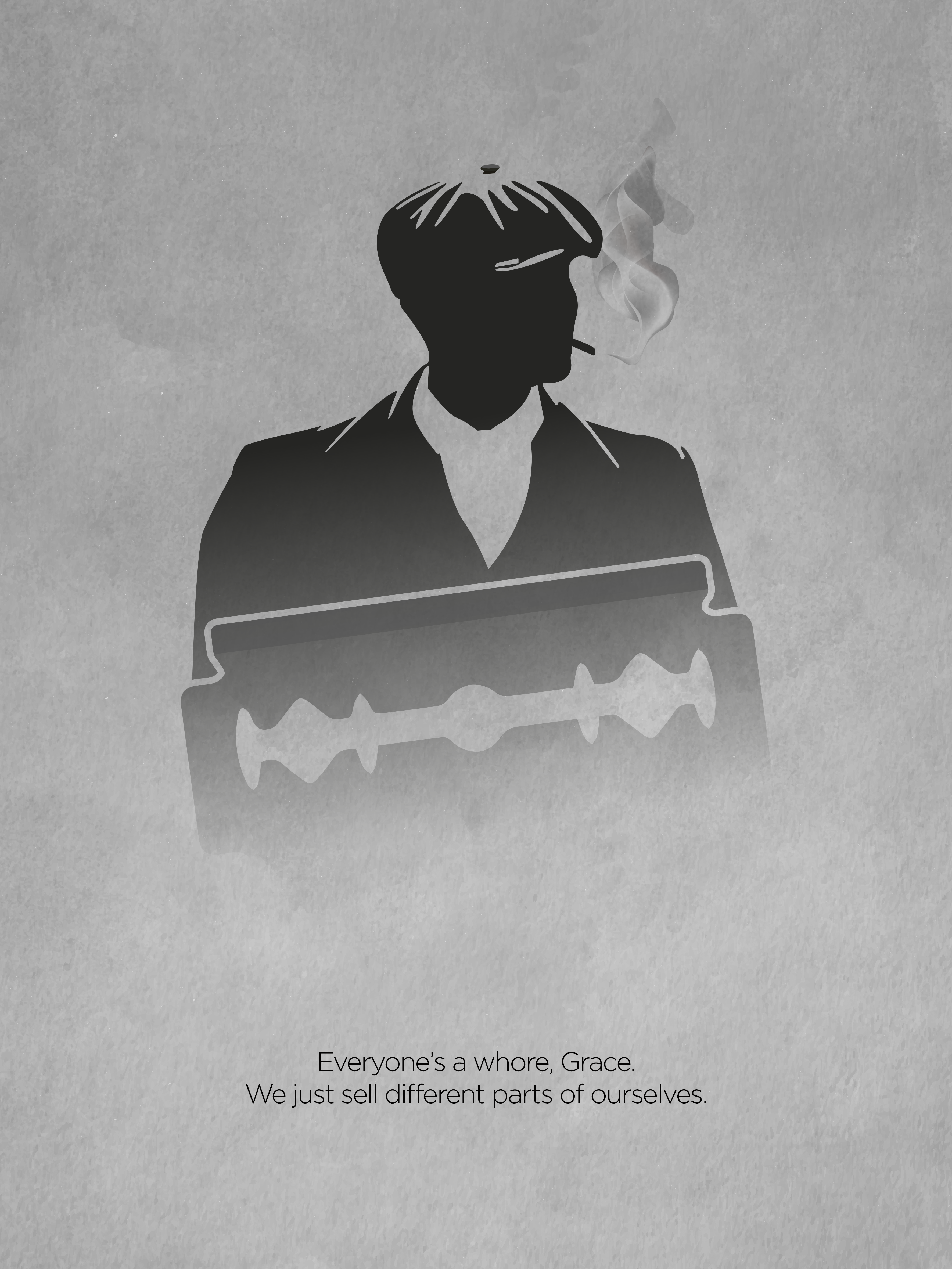 Peaky Blinders serie minimalist poster and quote, with