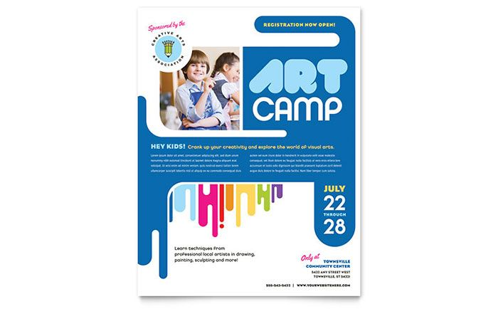 Kids Art Camp Flyer Template Design by StockLayouts mj - workshop flyer template