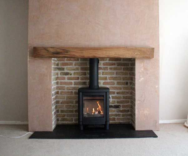 Reclaimed brick slip chamber natural slate tiled hearth for Tiled chimney breast images