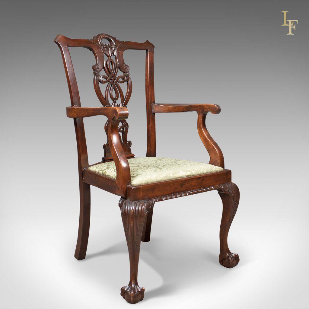 Antique Carver Chair, Victorian Chippendale Revival, c.1890 - Antique Carver Chair, Victorian Chippendale Revival, C.1890