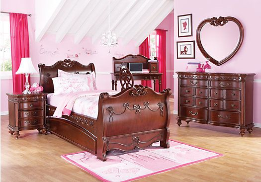 Shop for a disney princess cherry 6 pc twin sleigh bedroom for Princess room furniture