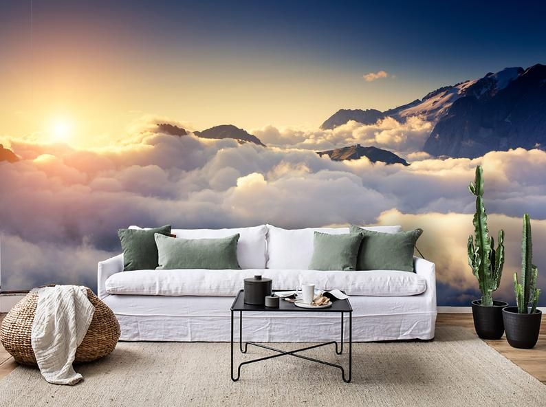 3d Sunrise View Clouds Fog Wallpaper Removable Self Adhesive Wallpaper Wall Mural Vintage Art Peel And Stick Mural Wallpaper Wall Murals Office Wallpaper
