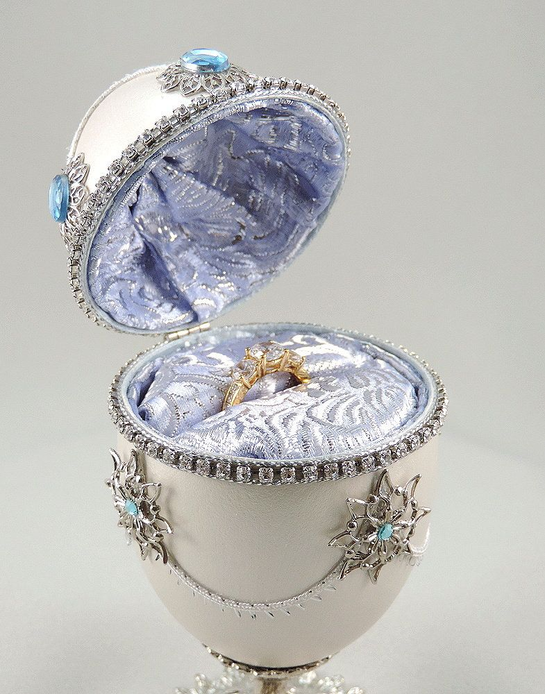 Silver Engagement Ring Box Silver Presentation Box W Blue Topaz