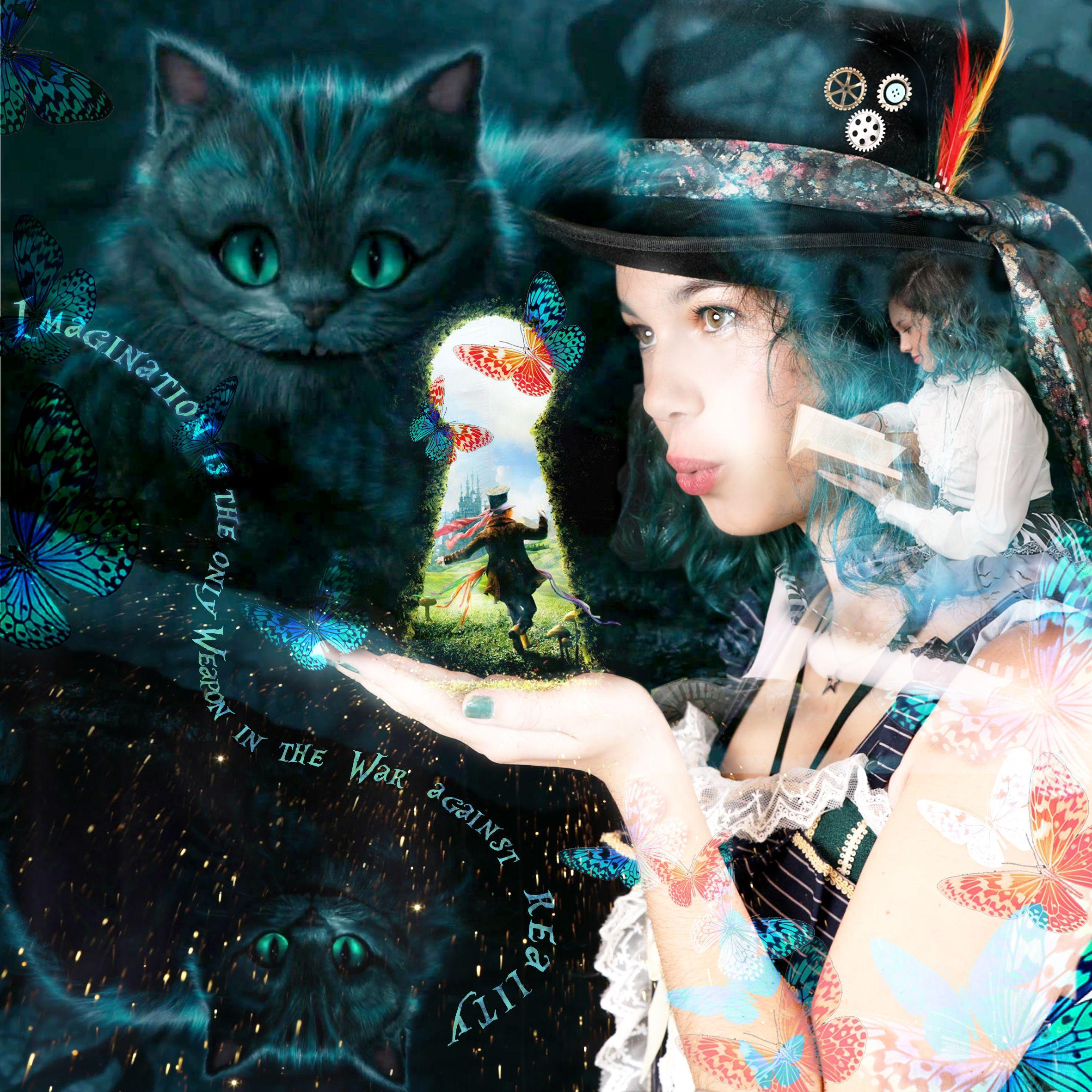Montage photo, double exposition, Thème Alice au pays des Merveilles Faites voyager votre imagination ... #artduconfinement #confimentcréatif #aliceaupaysdesmerveilles #aliceinwonderland #dessin #crayondecouleurs #aquarelle