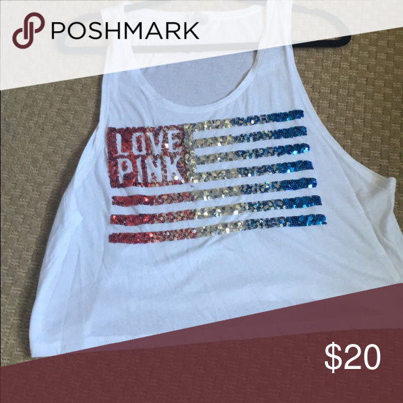 American Flag crop top Sequined red white and blue tank/crop top, deep cut sleeves. Great for Fourth of July! PINK Victoria's Secret Tops Crop Tops