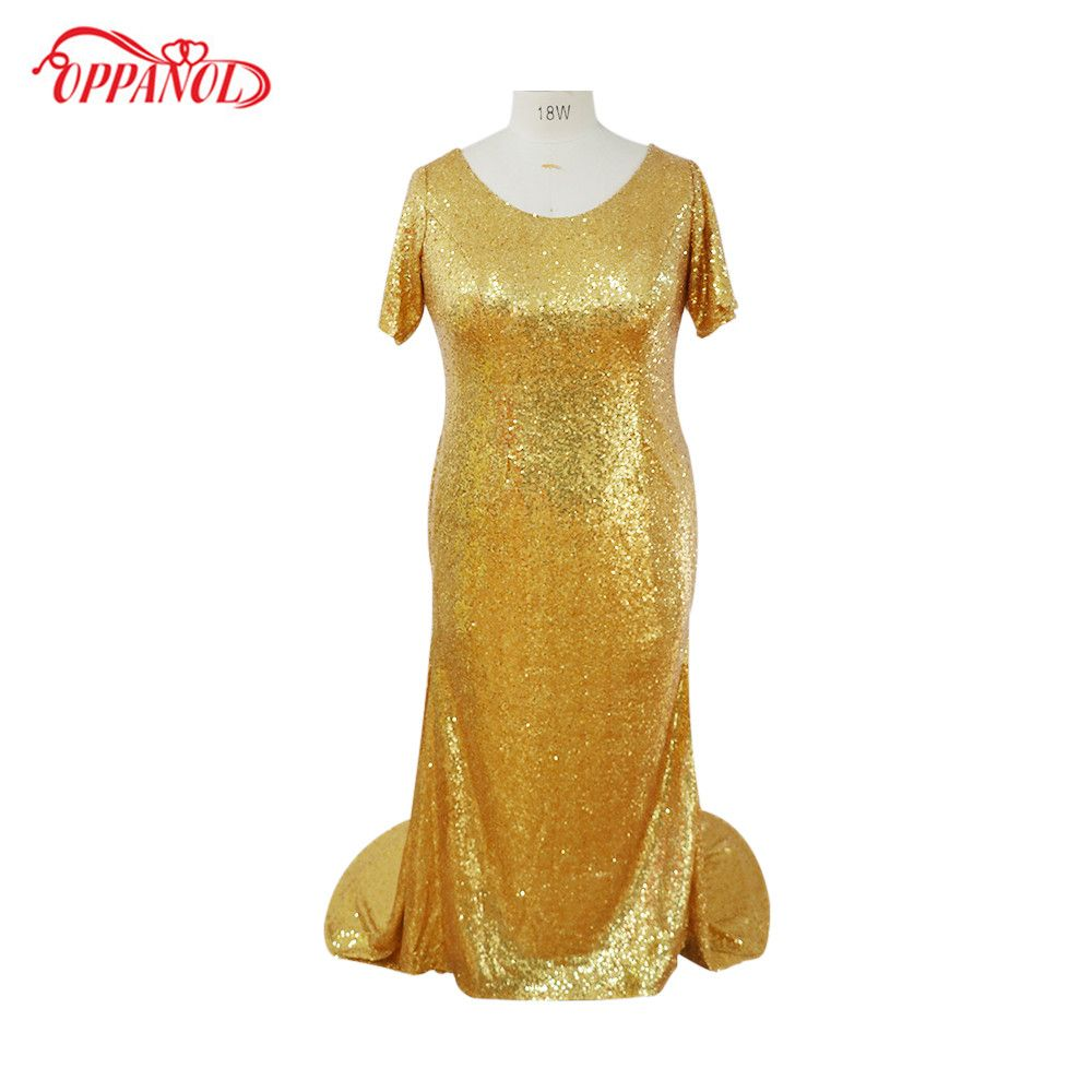 Click to buy ucuc fashion gold sequins long prom dresses simple