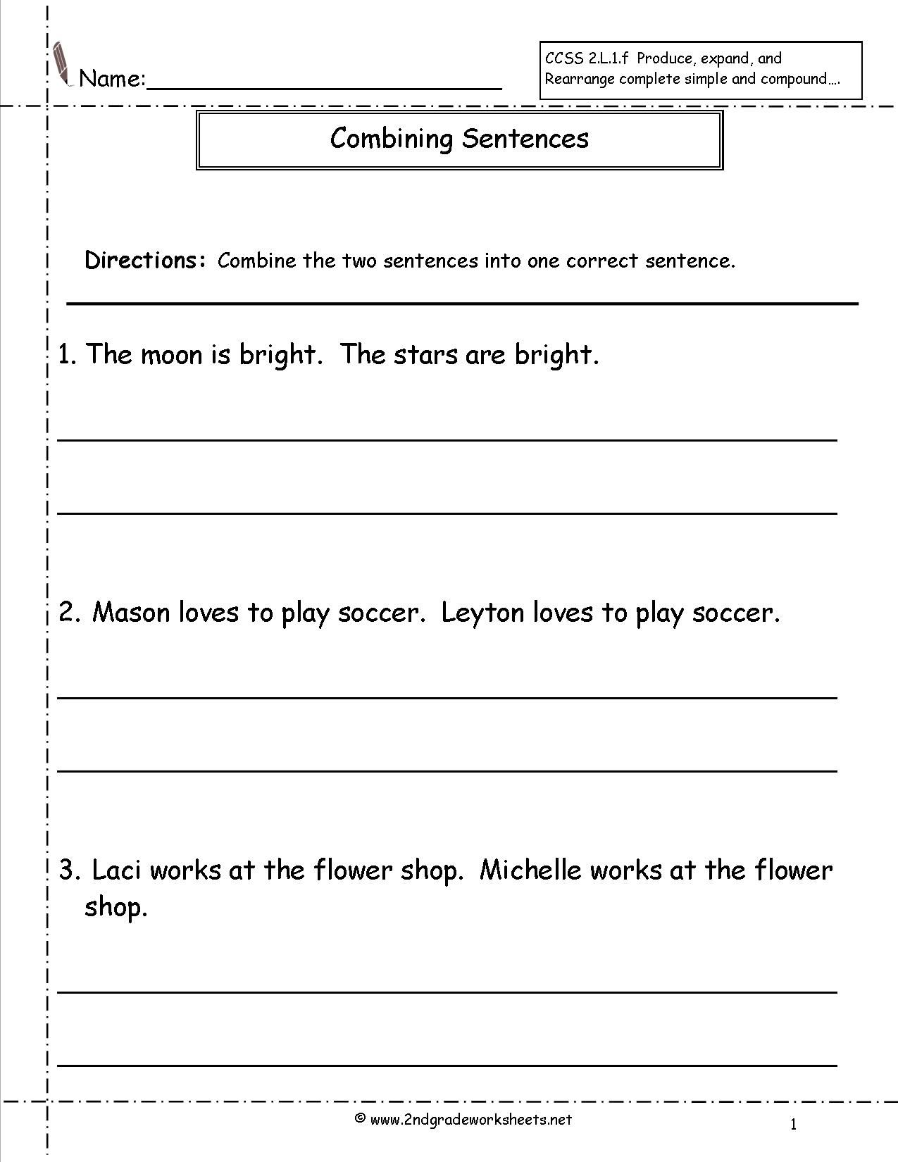 Combining Sentences Worksheet Combining Sentences Compound