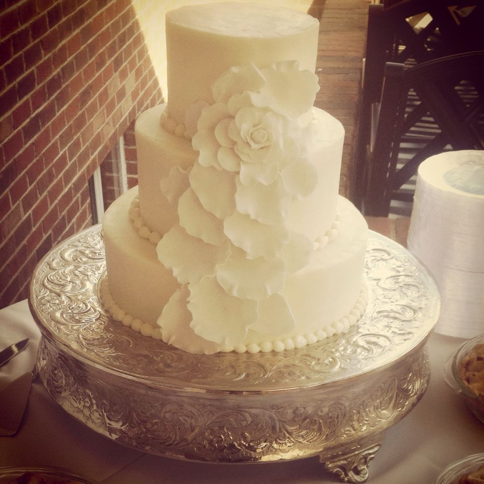 Buttercream 3 Tiered Wedding Cake With Handmade Fondant