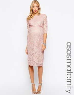 f5a3c230ca9 My Baby Shower Dress! ASOS Maternity Exclusive Lace Bodycon Dress With 3 4  Sleeve And Ribbon Detail