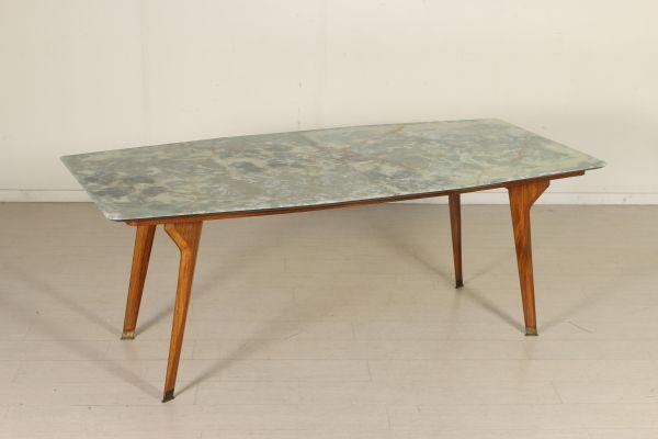 Tavolo diamond ~ Tavolo rettangolare; legno teak piano in onice incollato su base