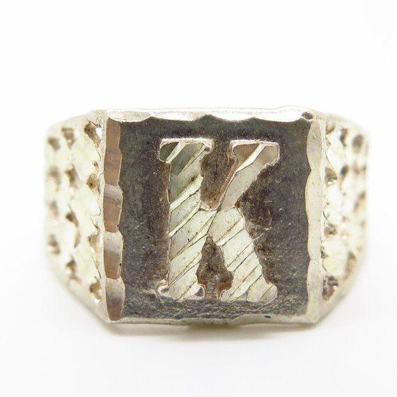 925 Sterling Silver Textured Letter K Wide Mens Signet Ring Size 9 1 4 Signet Ring Silver Sterling Silver