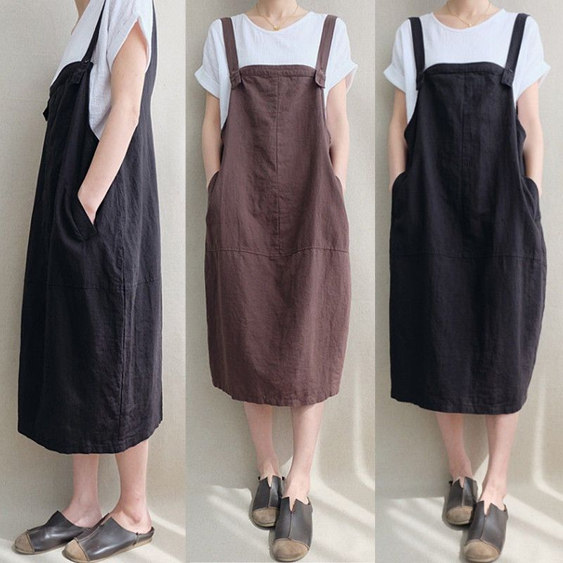 806db46fa6 $8.07 - Ethnic Vintage Suspender Skirt Casual Women Strappy Loose Oversize Midi  Dress #ebay #Fashion