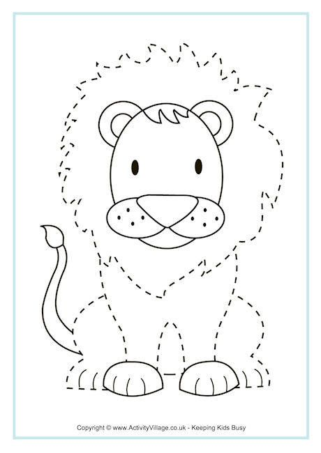 lion tracing page pre k and kindergarten printables flashcards etc pinterest lions. Black Bedroom Furniture Sets. Home Design Ideas