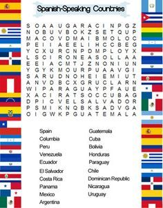 Kids Spanish Word Search Spanish Speaking Countries And