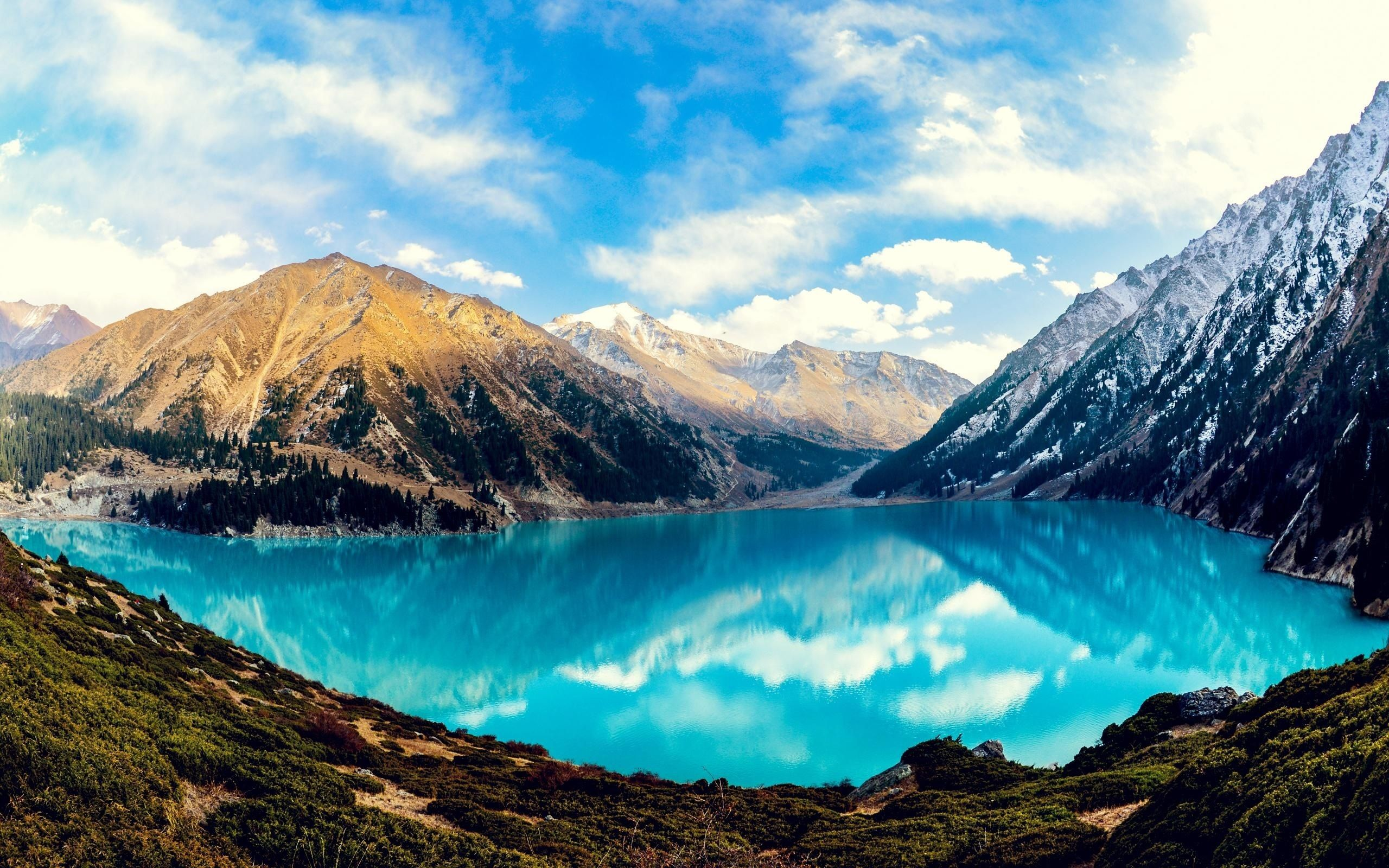 Nature Hd Wallpapers And Desktops Almaty Kazakhstan Travel Landscape Wallpaper Hd wallpaper lake tree trunk mountain