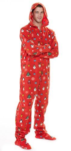 Footed Pajamas Holly Jolly Christmas Adult Hoodie One Piece - you can get  this style of holiday pjs for the whole family - warm 3699488de