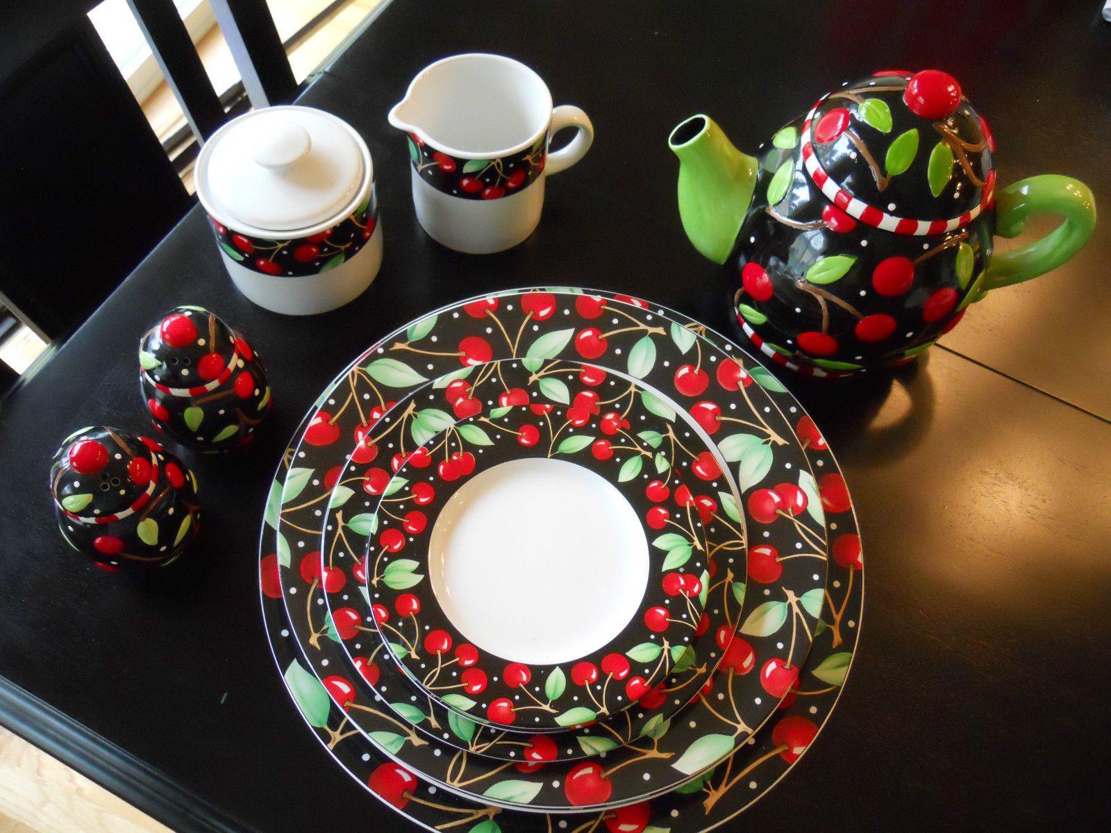 Mary Engelbreit Sakura Cherries Set Teapot Sugar And Creamer