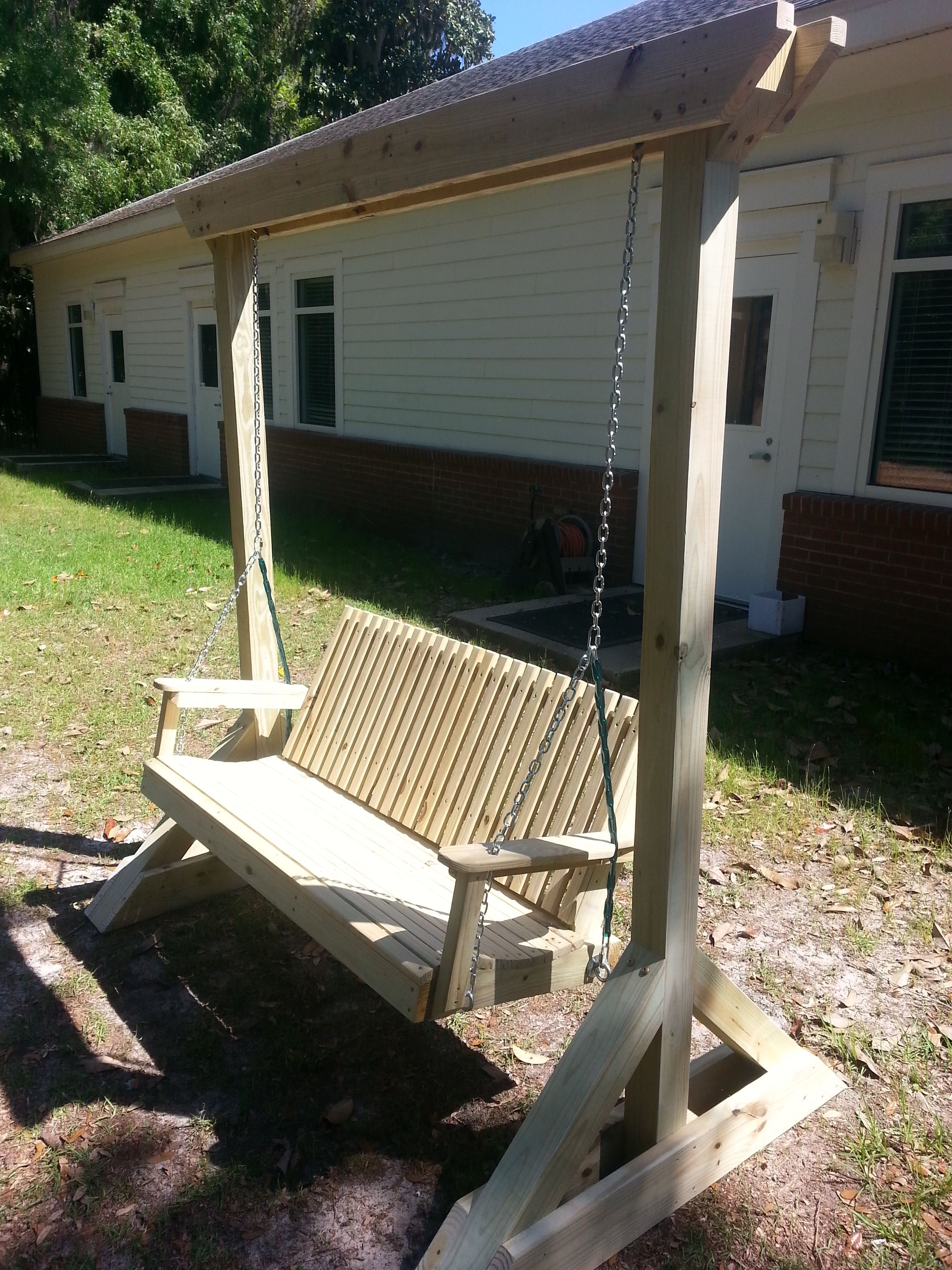 Custom Built Wood Porch Swing! Heavy Duty, Made With Pressure Treated Pine.  Stand