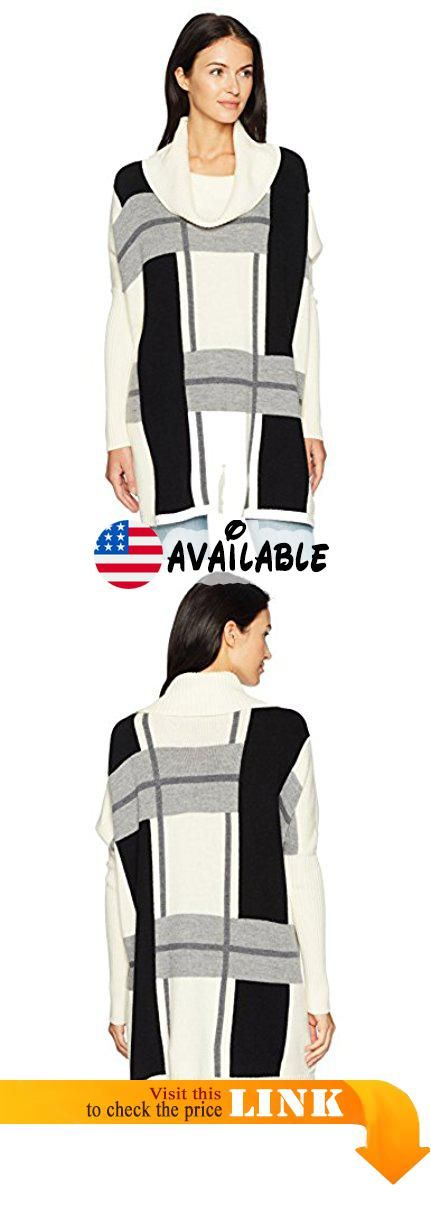 Pendleton Women's Lattice Merino Wool Poncho Sweater, Ivory/Grey Multi, M. Unlined. 30 inch #Apparel #SWEATER