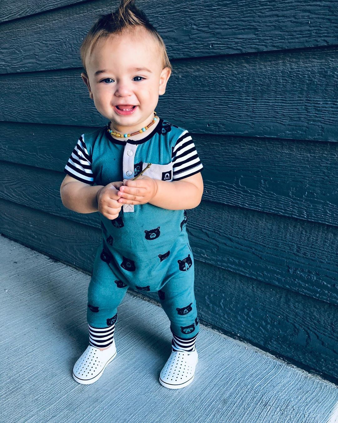Little Dude Is 10 Months Old And Lookin Too Cute In This Rag Tagyourrags Reposted From Maviandknox Old Baby Clothes Rompers For Kids Baby Boy Outfits