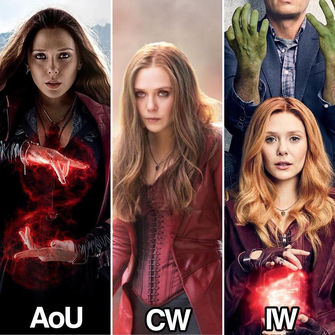In Each Movie Her Hair Continues To Get Lighter Is It Symbolism Of Her Character Evolving Scarlet Witch Marvel Scarlet Witch Elizabeth Olsen Scarlet Witch
