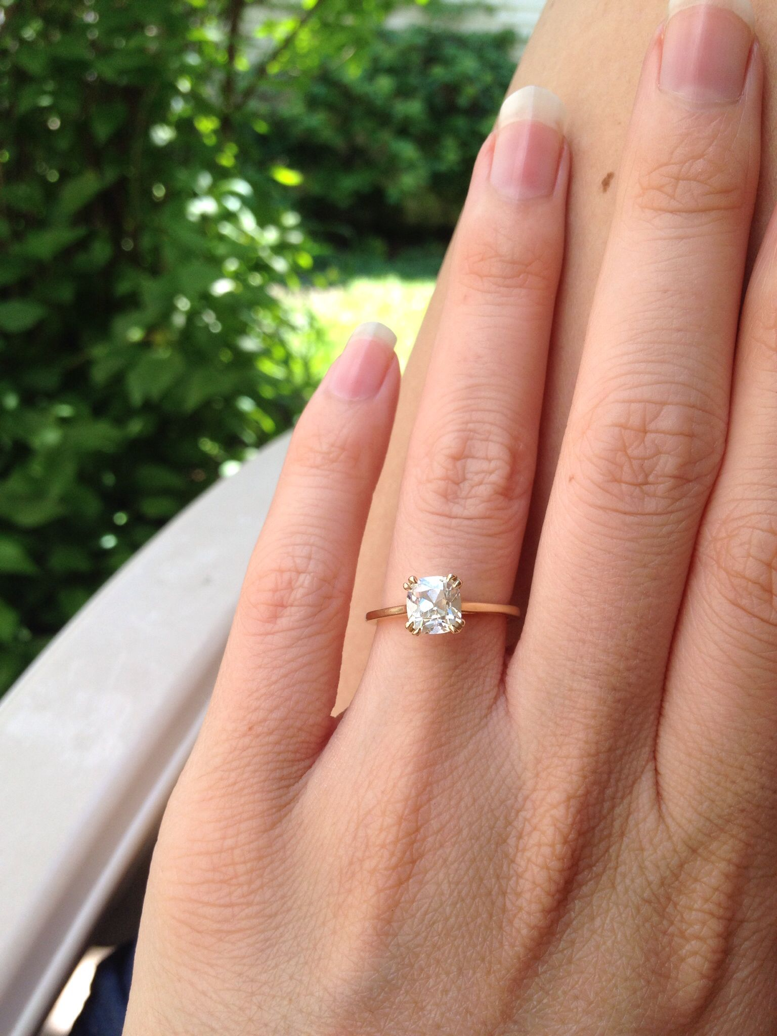 149 LVS1 August Vintage Cushion diamond solitaire with thin