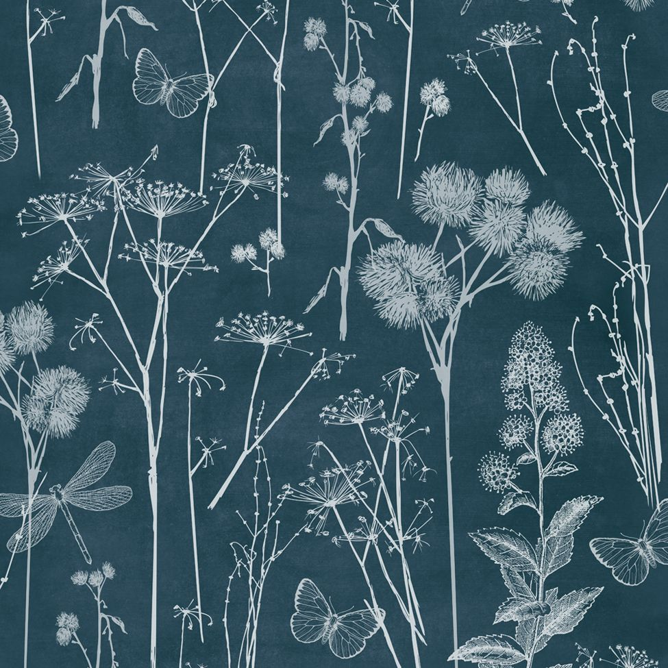 Floral Wallpaper Botanical Blackboard Muriva 601549