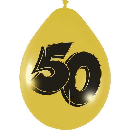 Gouden ballonnen 50 jaar. 6 ballonnnen in de kleur goud met 50 jaar print. Afmeting van de ballon is ongeveer 27 cm. Een leuke toevoeging aan een Abraham of Sarah feest, maar natuurlijk ook uitermate geschikt voor een ander jubileum.