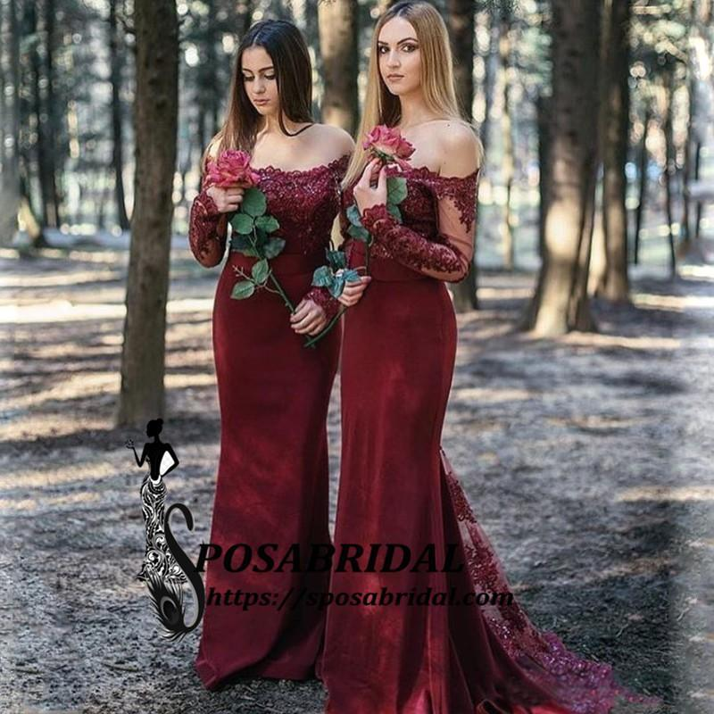 698f9da34d1 Best Cheap Modest Sexy Unique Mermaid Burgundy Off Shoulder Long Sleev –  SposaBridal