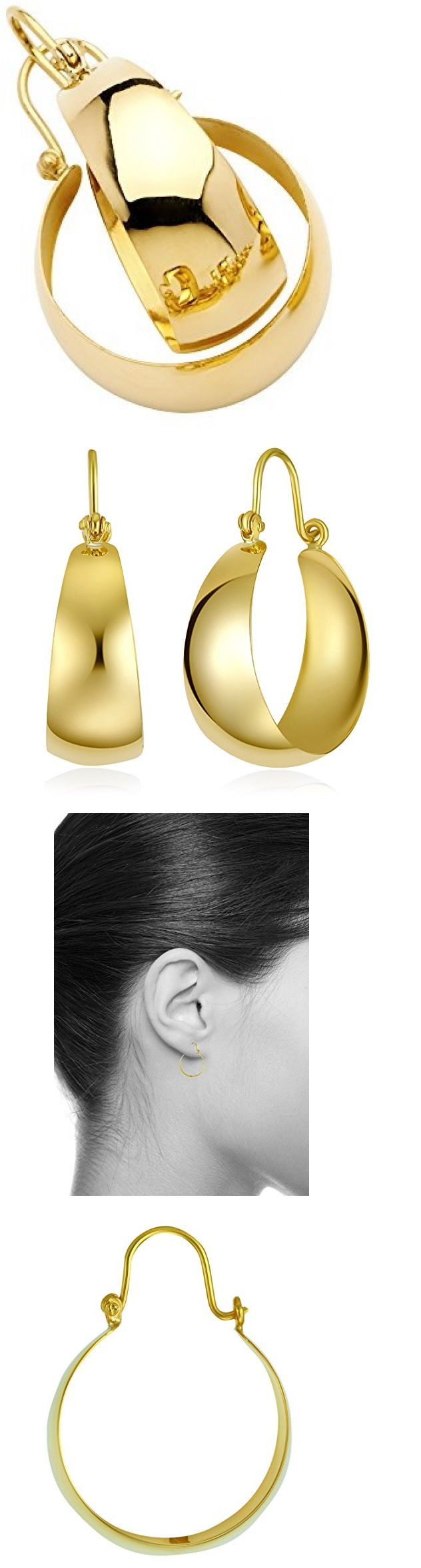 Precious Metal Without Stones 164319 Solid 14k Yellow Gold Plain Graduated Hoop Earrings 20mm