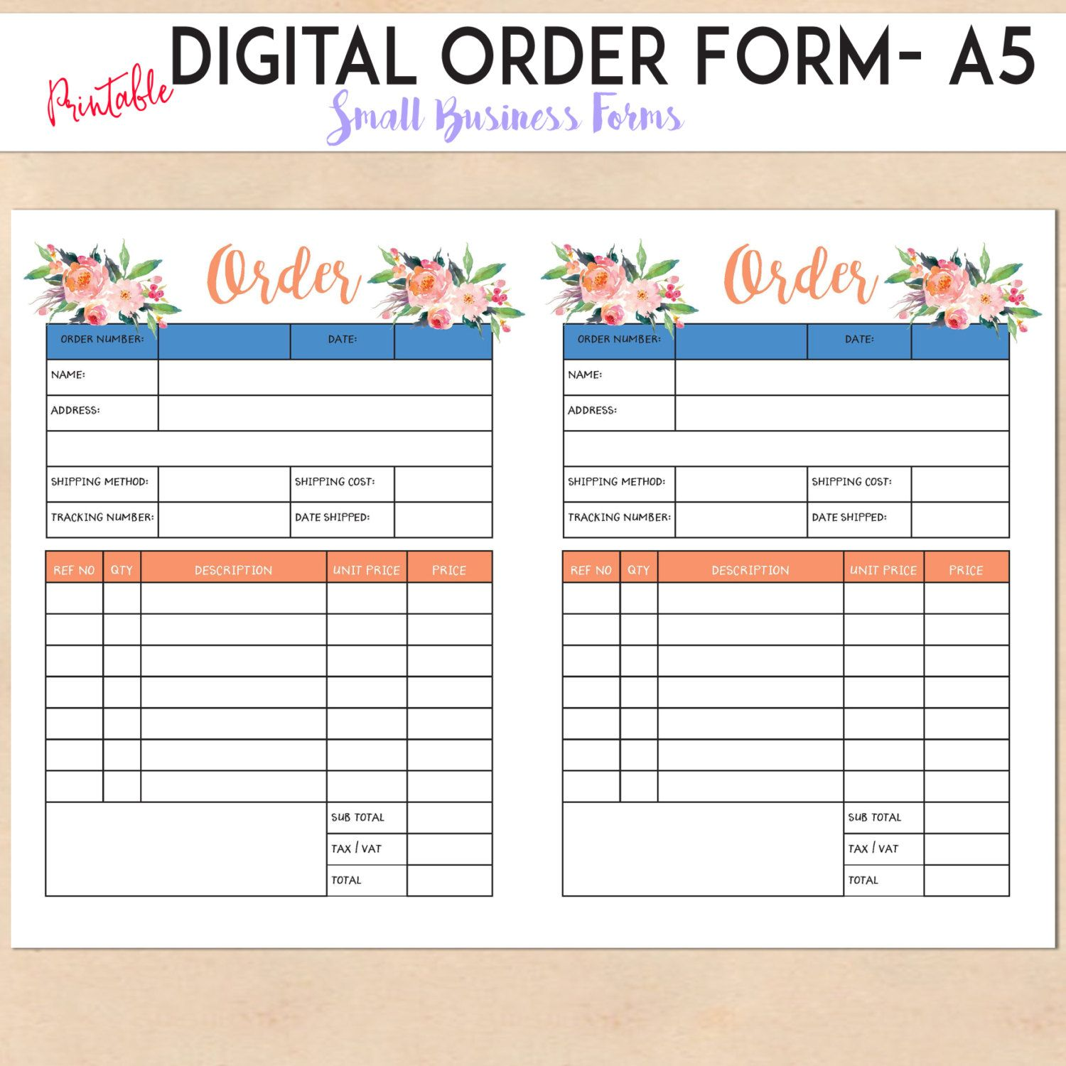 Digital Order Form  Printable Template  Custom  Personalised