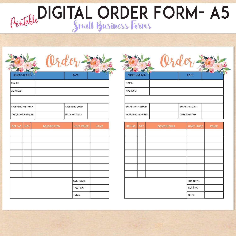 digital order form printable template custom personalised small business handmade etsy. Black Bedroom Furniture Sets. Home Design Ideas