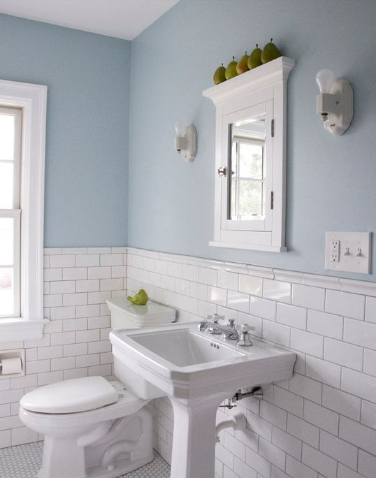 Tile Chair Rail Wall In Bathroom White Google Search White Bathroom Tiles Black And White