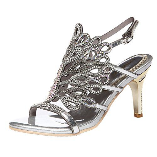 678e80307f5e82 Bridal Shoe · Peafowl · Jiame Womens Peacock Shaped Pattern Rhinestone  Strappy Heel Sandals 9BMUS Silver -- For more information