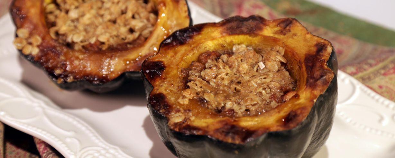 Apple Crumble Stuffed Acorn Squash Recipe The Chew ABC